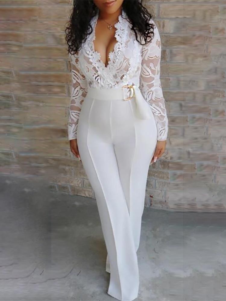 2019 Summer Women Elegant White Sexy V-Neck Slim Fit Outfit Patchwork Crochet Plunge Eyelash Lace Bodice Insert Jumpsuit