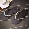2017 summer women rhinestones pearl thong sandals Beads shiny diamond slipeprs woman sexy beach flats sandal flip flips