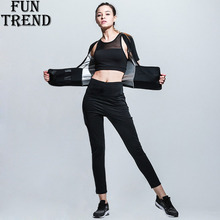 Sport Suit Women Burning Calories Two Piece Yoga Set Fitness Running Shirt Pants For Clothing