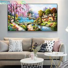 Full Diamond Painting European Style Cottage Diy Embroidery The Living Room Decorative