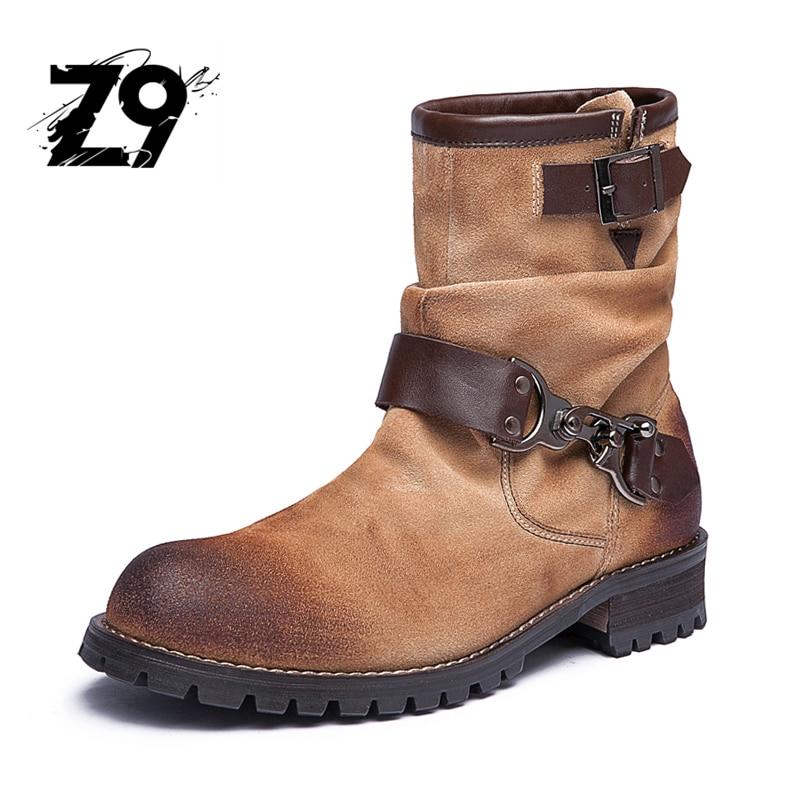 Top new men ankle font b boots b font fashion casual style font b cowboy b