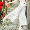 Mujeres de la manera de la Placa Hecha A Mano Botones Elásticos Pantalones de Pierna Ancha de Seda Sólida Patchwork Cintura Elástica Pantalones Casuales Completos QS8495