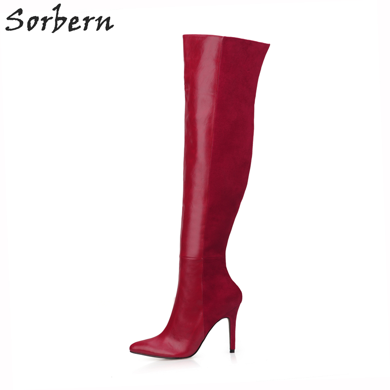Sorbern Patent PU Womens Boots Kne Women Winter Boots 2017 Botas Mujer Sexy Ladies Party Boots Zipper Pointed Toe Boots