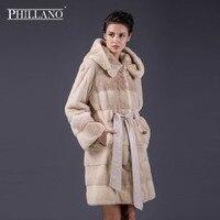 PHILLANO New Fashion Long Hooded 100% Real Mink Fur Coat Women Winter Natural Mink Fur Jacket Luxury Imported Fur Coat 13002M 90