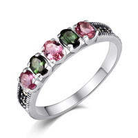 Long Baolong 925 Sterling Silver Genuine Natural Tourmaline Ring Ring Wholesale Ms
