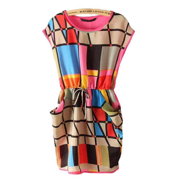 Vestidos 2016 Fashion Women Summer Dress Multi Color Chiffon Plaid Dress Geometric Polka Print Casual Mini Dresses Plus Size
