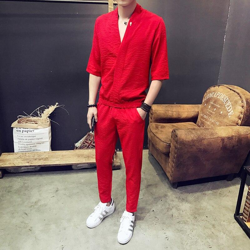 2019 2Pcs Men Sets Fashion Street Wear Solid Men V-Neck T-shirt+pants Tracksuits Casual Pockets Drawstring Sportwear Clothes 5XL