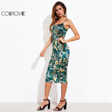 COLROVIE Lace Up Back Floral Velvet Dress 2017 Botanical Women Sexy Cami Midi Summer Dresses Green Elegant Bodycon Party Dress