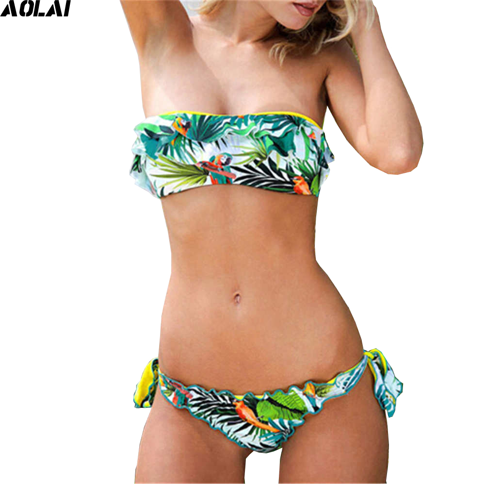 Bandeau Bikini 2017 Flounce Swimwear Women Tassel Swimsuit Sexy Brazilian Biquini Green Thong Bikini Set Floral Bathing Suits cute strapless flounce design women s bandeau bikini set