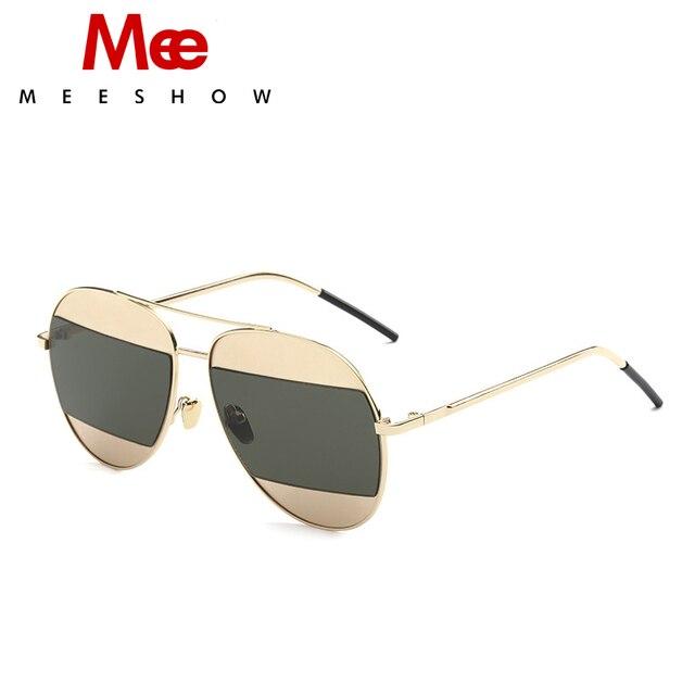 MEESHOW  classic Aviator sunglasses rose gold metal sun glasses  men women fashion color brand pilot free shipment