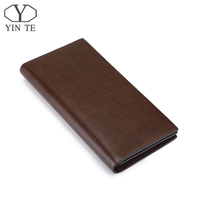 ФОТО YINTE Fashion Men Wallet Leather Business Brown Purse New Latest Design Leather Wallet Business Men Long Wallet Portfolio T8839A