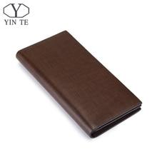 YINTE Fashion Men Wallet Leather Business Brown Purse New Latest Design Leather Wallet Business Men Long Wallet Portfolio T8839A