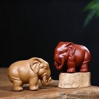 Yixing Natural Purple Clay Tea Pet Elephant Statue Sculpture Chinese Kung Fu Tea Set Try Decor Crafts Zisha Boutique Souvenir