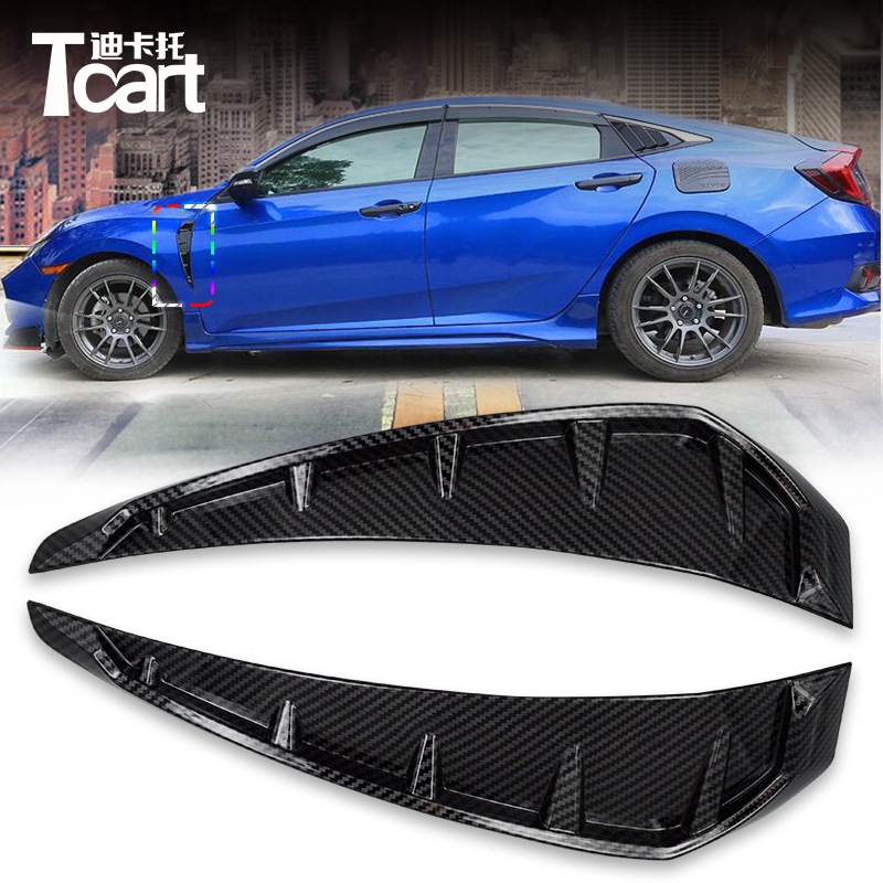 Car Accessories For Honda Civic 2016 2017 2018 ABS Carbon Fiber Shark Gills Simulation Outlet Side Vent Sticker