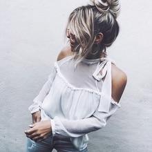 chic Long Festivals Classics Comfort Elegance new Women Ladies Loose Casual Fall Sleeve Chiffon Shirt Off Shoulder blouse Tops