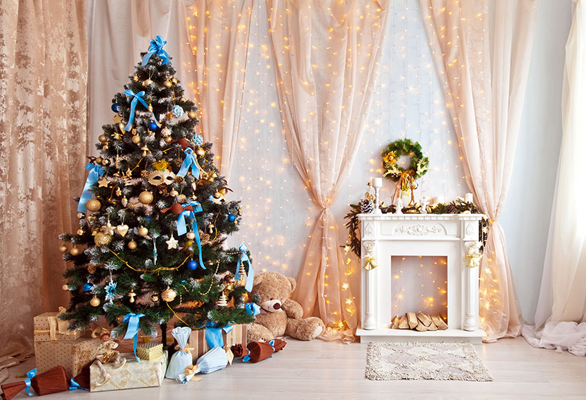 Christmas Backgrounds Photography Studio Christmas Tree Home Decoration Wreath Family Party Light Brick Wall Photo Booth Background Aliexpress