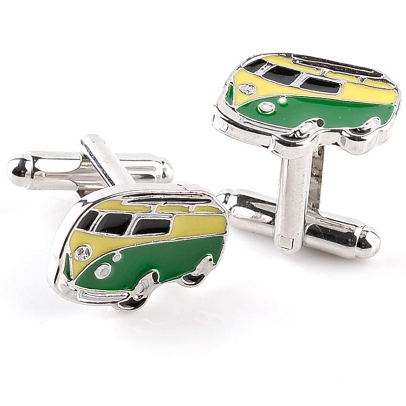 High Quality Alloy Bus Design Cufflinks Brand Fashion Jewelry Train Cufflink For Mens Shirt Cuff Links New Year Gifts
