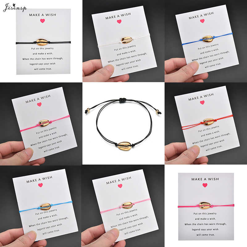 Jisensp Summer Style Fashion Seashell Charm Bracelet for Women Lovely Beach Shell Adjustable Rope Bracelet Jewelry Gift