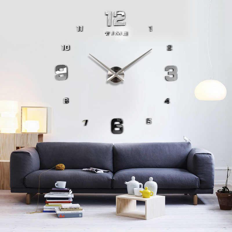 ساعة حائط ذات مرآة كبيرة بتصميم حديث لعام 2020 3DDIY ساعة حائط ذات مرآة مزخرفة هدية فريدة شحن مجاني