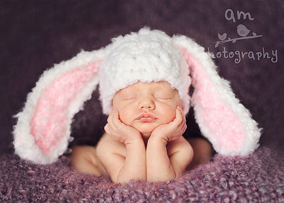 9ed33c5ece9 Chunky Newborn baby hat Bunny Hats Blue Fluffy Easter Bunny Hat Rabbit Ears  Beanie with Floppy Ears Children s Photography prop