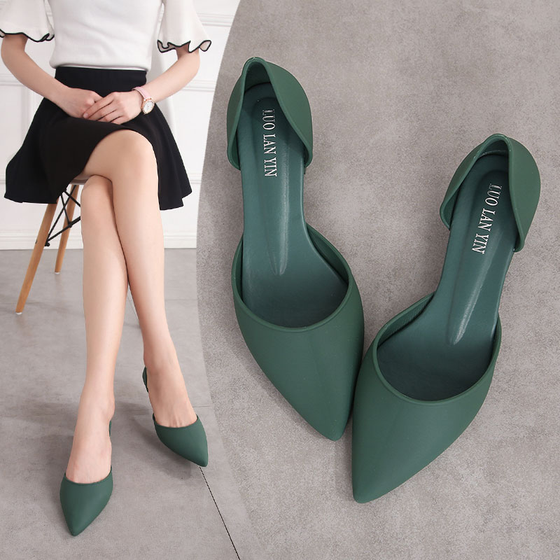EOEODOIT Jelly Pumps Sandals Summer Med Square Heel Shallow Mouth Shoes Women Summer Slip On Pointy Toe Heels Sandals Rain Shoes