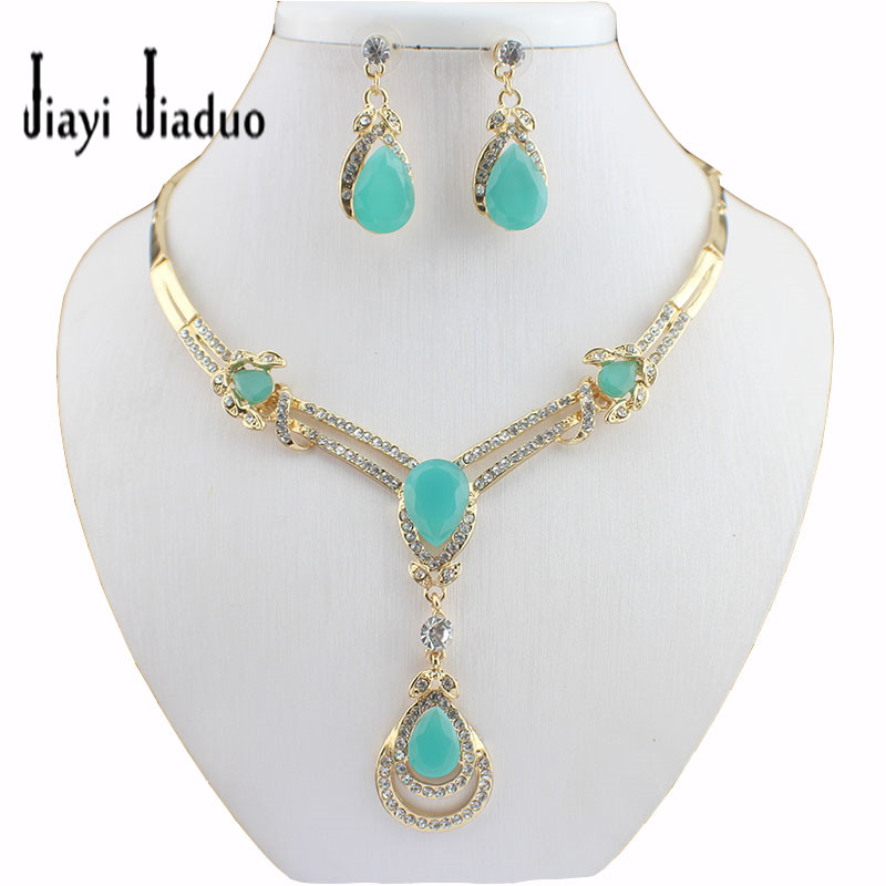 bridal wedding jewelry set new gold plated charm party costume jewelry