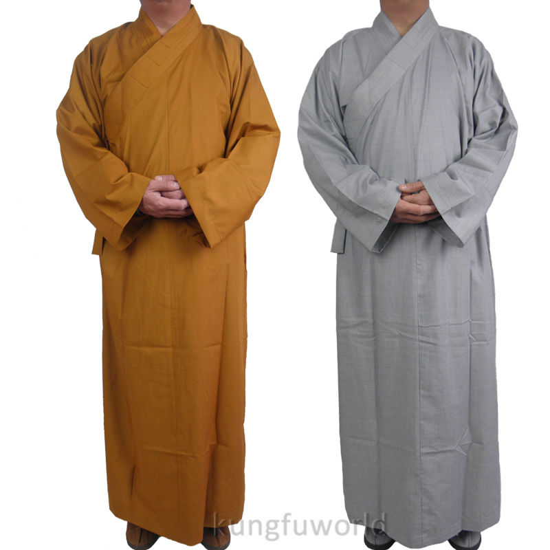 Shaolin Temple Buddhist Monk Dress Lång Kung Fu Robe Lay Meditation Uniform Kampsport Tai Chi Suit