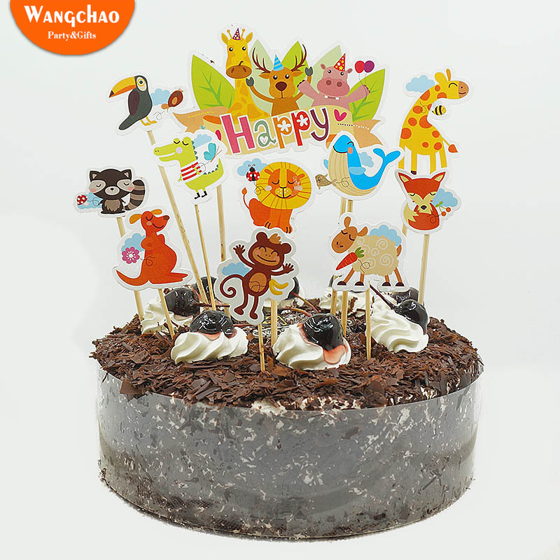 11pcs/set Safari Party Theme Cake Topper Zoo Cartoon Animals Decorations Supplies