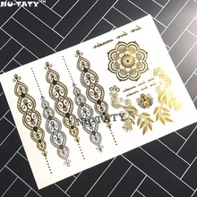 Nu-TATY 25 Style Temporary 3D Tattoo Body Art, Choker Gold Designs, Flash Tattoo Sticker Keep 3-5 Days Maquiagem