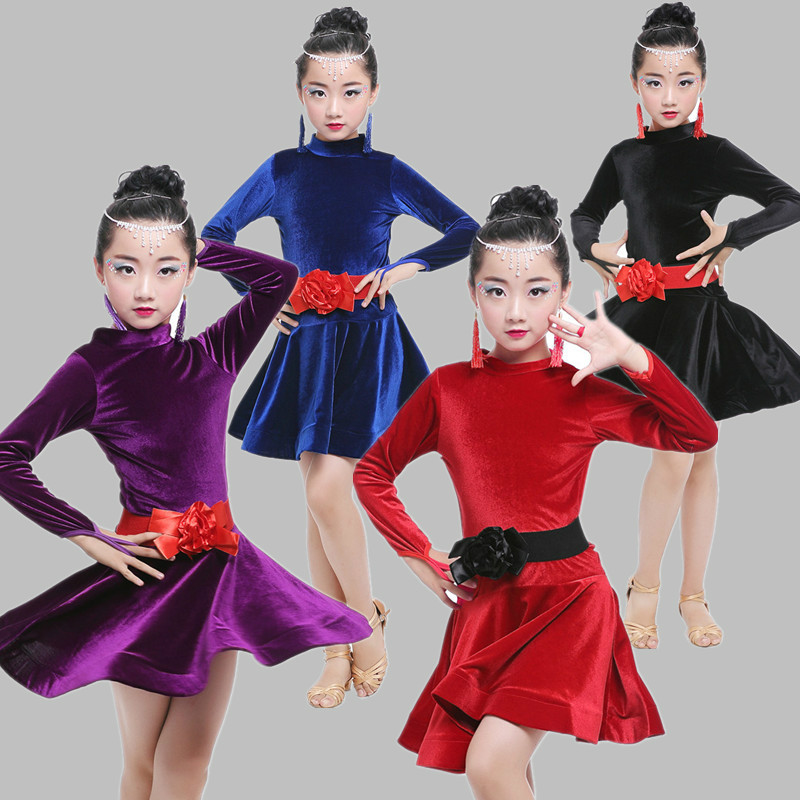 Long Sleeve Latin Dance Dress for Girls Competition Latin Dress for Girls  Ballet Dancing Dress Kids Girl Latin Dance Costumes 13345a3529a4