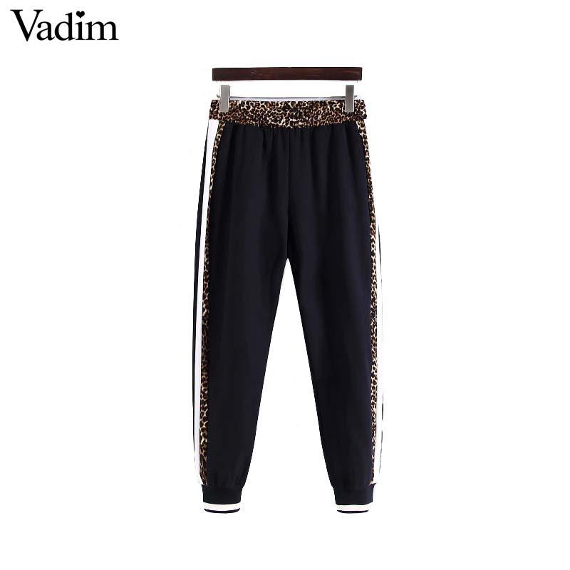 Vadim Women Chic Leopard Harem Pants Animal Pattern Patchwork Pockets Elastic Waist Female Casual Trousers Pantalones Ka376