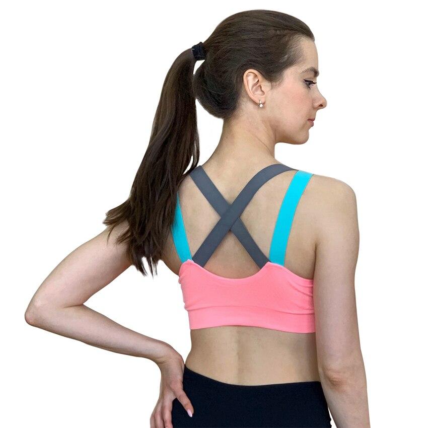 Seksi spor sutyen üst spor kadınlar için Push Up çapraz sapanlar Yoga koşu spor Femme aktif giyim yastıklı iç çamaşırı kırpma üstleri kadın
