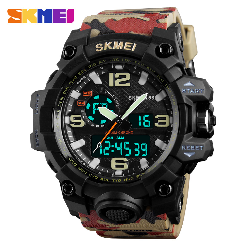 SKMEI Brand Men Dual Time Display Wristwatch Man Sport Watches Waterproof Clocks Relogio Masculino Military Digital Quartz Watch