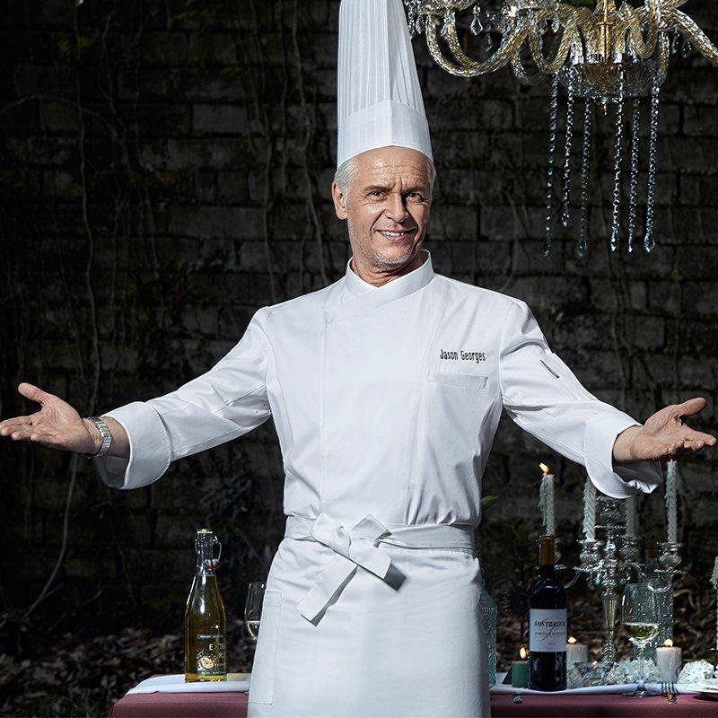 10 pièces haute qualité cuisinier costume hiver travail porter chef vestes porter pour cuisiner service alimentaire chapeaux hôtel restaurant personnel uniformes manteau