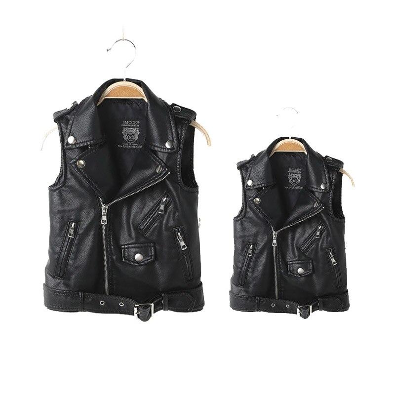 Mooi Moeder Zoon En Dochter Familie Outfits Pu Leren Jas Faux Soft Leather Vest Jas Familie Bijpassende Jassen Bijpassende Outfits