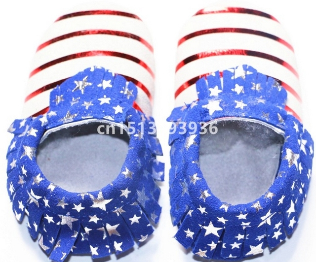 2016 New Genuine Leather Baby Moccasins Shoes Striped Starts Printed Baby Shoes Newborn prewalkers toddler Bebe Shoes