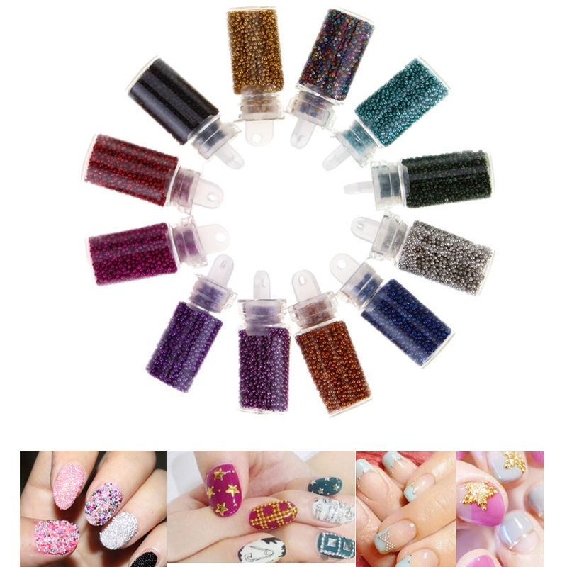 12 Color Tiny Bottle Caviar Bead Nail Art Set Mini Round Pearls For