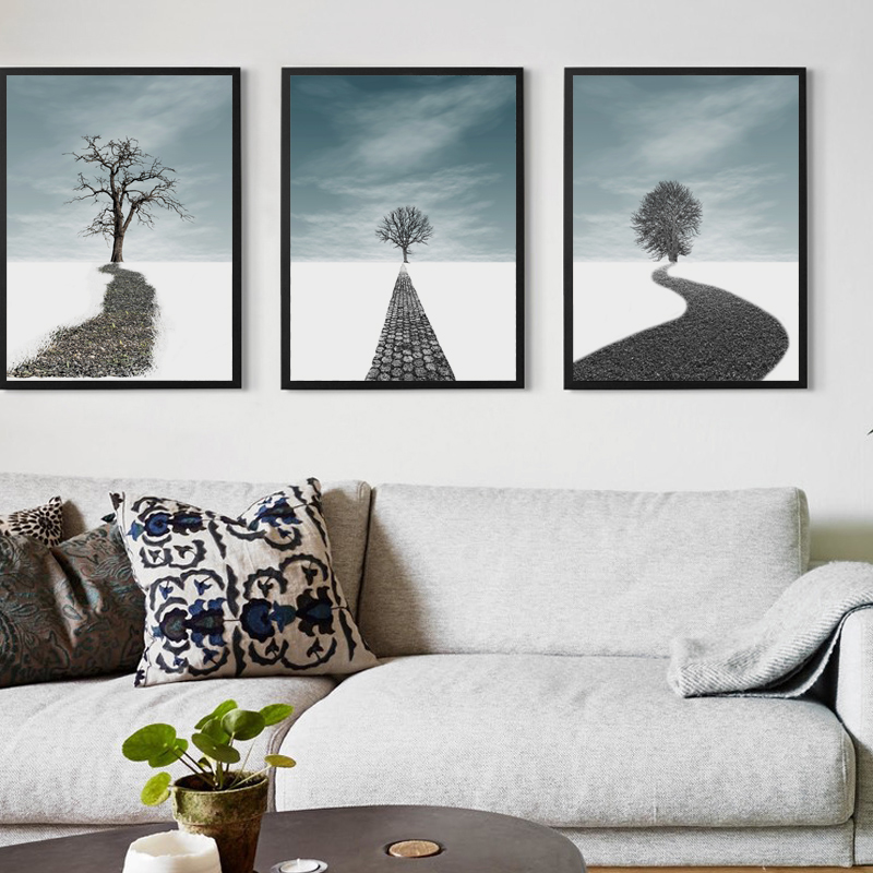 Bianche Wall Abstract Horizon Landscape Canvas Painting Art Print Poster Picture Home Bedroom Decoration