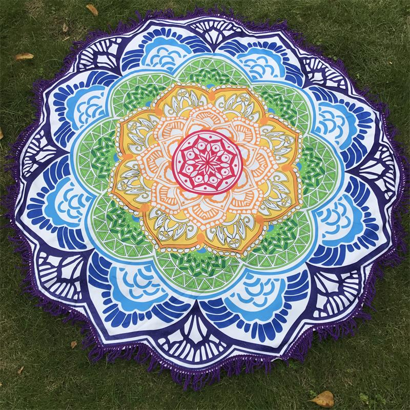 Women Chic Tassel Indian Mandala Tapestry Lotus Printed Bohemian Beach Mat Yoga Mat Sunblock Round Bikini Cover-Up Blanket 3