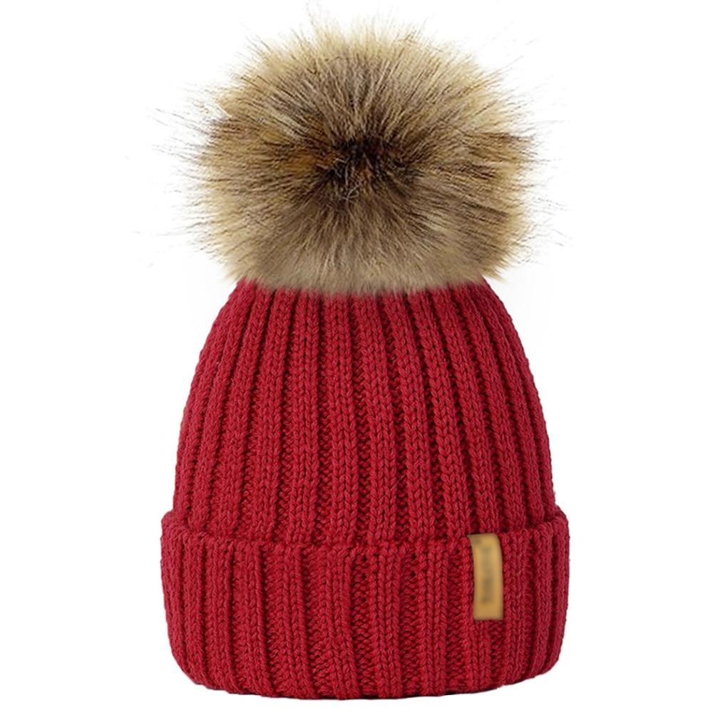 4105f7355bc Winter Hat Knit Beanie Winter Baby Hat For Children Fur Pom Pom Hats For Girls  Boys