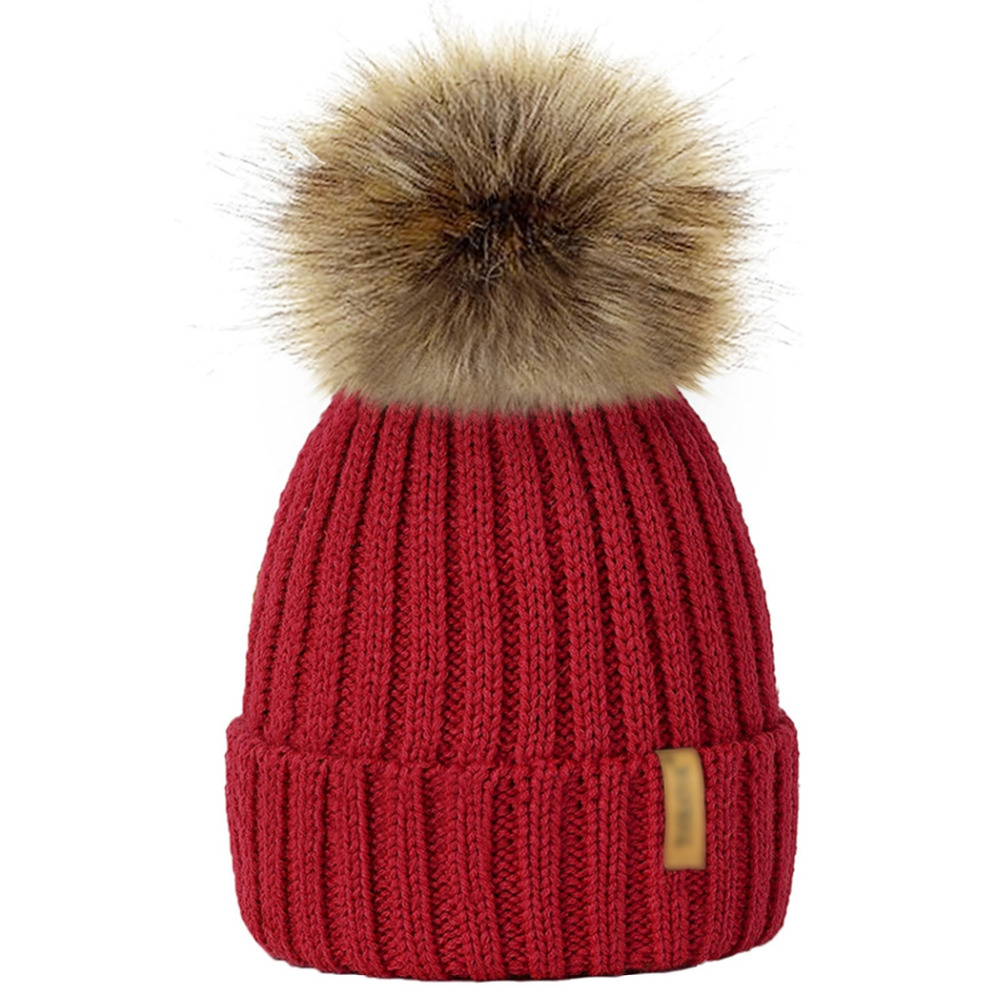 Winter Hat Knit Beanie Winter Baby Hat For Children and Adults Fur Pom Pom Hats For Girls Boys Muts Cap Parent-child natural fur beanie hat for women winter luxury fox fur top hat beanies thicken knitting lined female newest hats cap