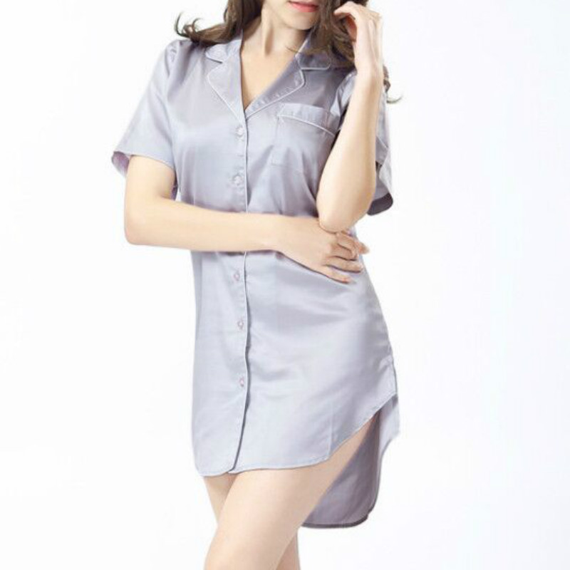 2018 New Fashion Female Nightgowns Secret Sleepshirts Silk Home Dress Lndoor Clothing Solid Button Sleepwear Women Nightdress