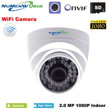 HD 1080P WIFI IP dome camera wireless Security CCTV webcam IR night vision SD card slot use for indoor support smartphone view