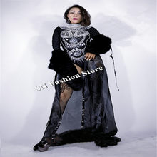 68b0fb3e3b CC25 Singer Rhinestone stage show wears fur clothes women dresses sexy  ballroom costumes catwalks skirt dj bar party cloak dance