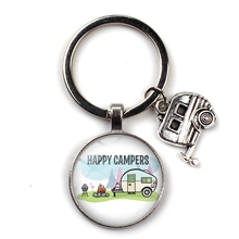 XKXLHJ  New Happy Camping - Handmade Pendant Keychain with Campers Charm
