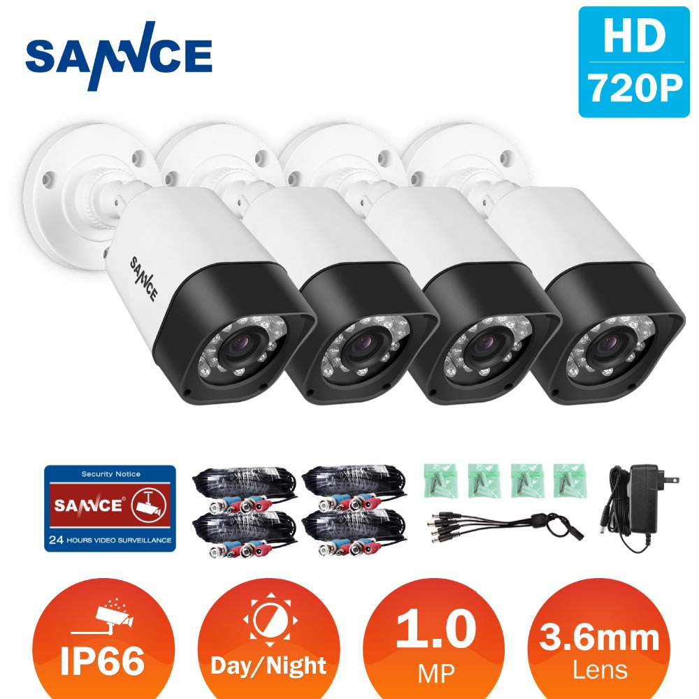 SANNCE 4pcs 720P HD 1MP TVI Security CCTV Cameras indoor outdoor Waterproof IR night vision white camera in Surveillance kit hd ahd cvi tvi cvbs bullet camera with alarm speaker waterproof ip67 hd 1080p 4 in 1 security camera outdoor night vision ir 20m