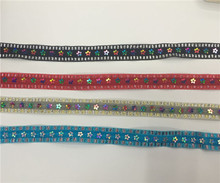 5yards/lot width15mm sequins lace trimming for garment curtain DIY handmade decoration  craft 5meters 17colors connecting strip with diy sequins handicraft pearl sequins garment connecting strip with diy sequins