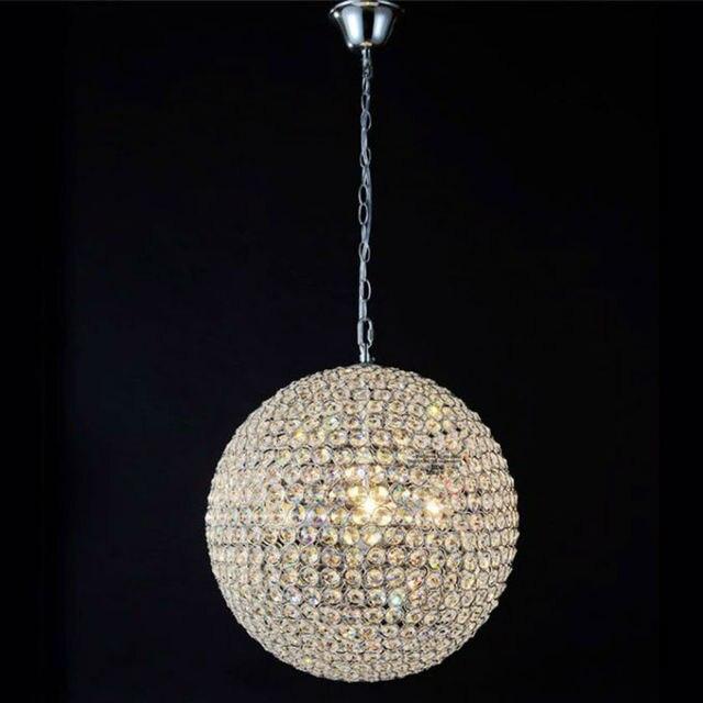 Dia50cm Kristallkugel Kristall Lampenschirm Runde Led K9 Kristallkugel  Treppe Pendelleuchte Edelstahl Hängen Esszimmer Lampe