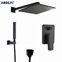 AODEYI Premium Quality Brass Black Shower Set Bathroom 8 Rain Shower Head Faucet Shower Spout Diverter Mixer Handheld Spray Set