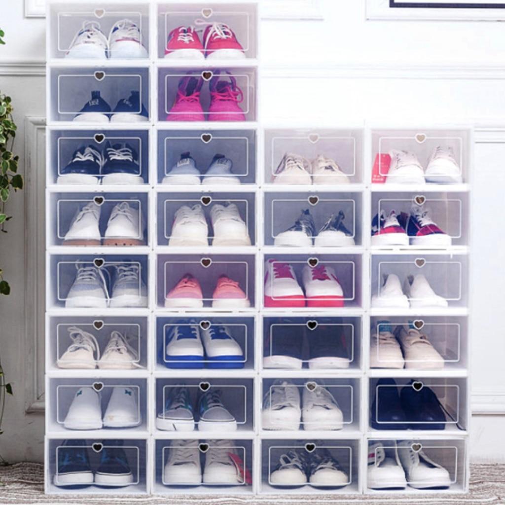 6 قطعة/المجموعة سميكة الوجه الأحذية شفافة درج حالة صناديق الأحذية البلاستيكية تكويم مربع تخزين الأحذية مربع تخزين منظم